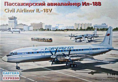 Пассажирский авиалайнер ИЛ-18В (масштаб: 1/144)