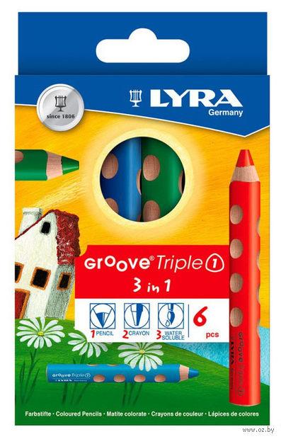 """Цветные карандаши """"GROOVE TRIPLE ONE"""" (6 цветов)"""