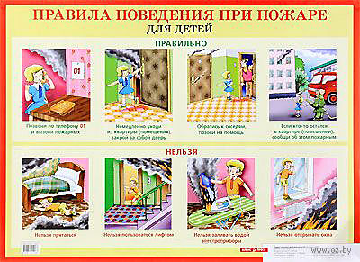 Правила поведения при пожаре для детей. Плакат