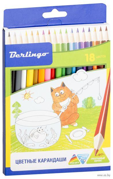 """Набор карандашей цветных """"Жил-был кот"""" (18 цветов) — фото, картинка"""