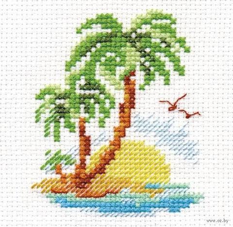 """Вышивка крестом """"Пальмовый островок"""" (60х80 мм) — фото, картинка"""