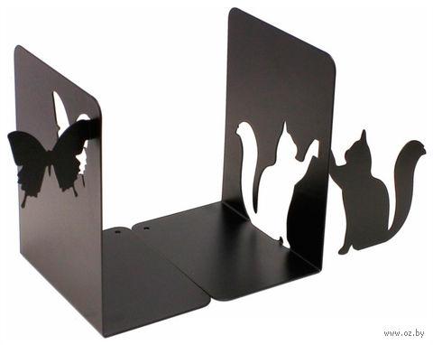 """Декоративная подставка-ограничитель для книг """"Кот и бабочка"""" — фото, картинка"""