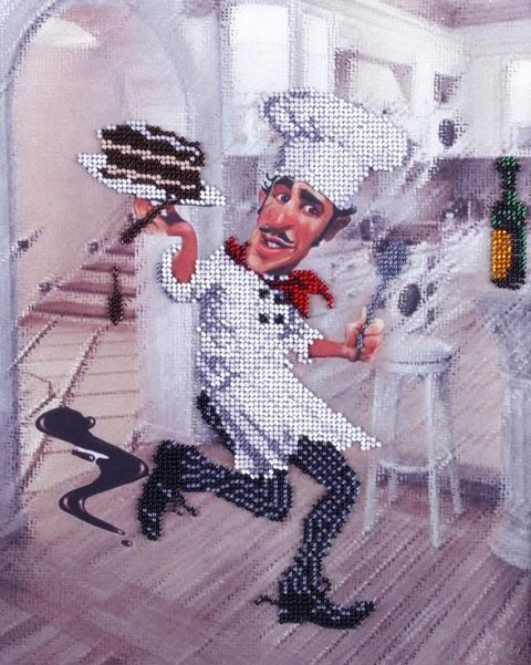 "Вышивка бисером ""Повар с тортом"" (250х310 мм) — фото, картинка"