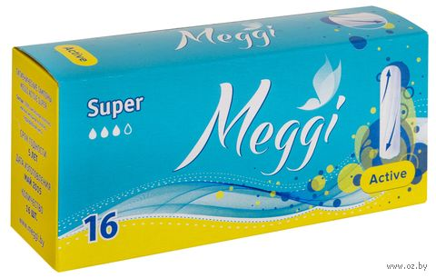 """Тампоны """"Meggi Active Super"""" (16 шт.) — фото, картинка"""
