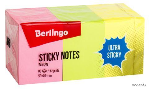 """Стикеры """"Berlingo"""" (50х40 мм; 12 блоков по 80 листов; разноцветные) — фото, картинка"""