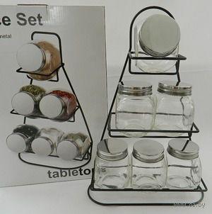 Набор баночек для специй стеклянных на подставке (6 шт. по 200 мл)