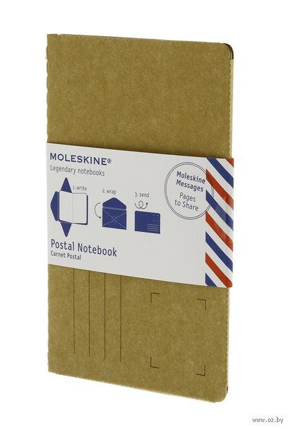 """Почтовый набор Молескин """"Postal Notebook"""" (карманный; мягкая обложка, цвет: горчичный)"""