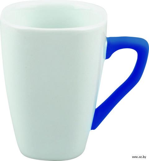 Кружка фарфоровая с силиконовым покрытием на ручке (250 мл; белый/синий)