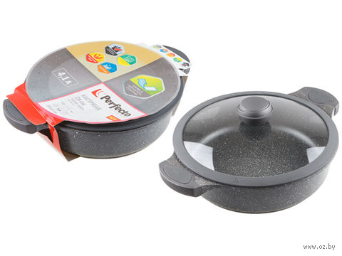 Кастрюля металлическая с крышкой для индукционных плит (4,1 л) — фото, картинка