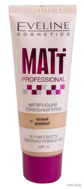 """Тональный крем для лица """"Matt Professional"""" SPF 10 (тон: 41, теплый бежевый) — фото, картинка"""
