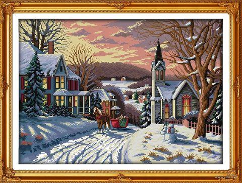 """Вышивка крестом """"Зима в городке"""" (360x500 мм) — фото, картинка"""