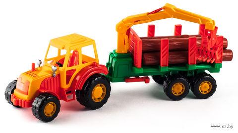 """Трактор """"Мастер"""" с полуприцепом-лесовозом"""