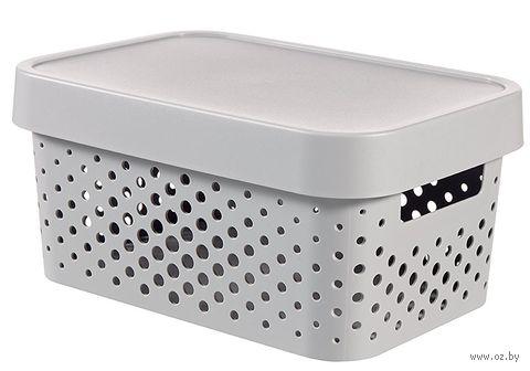 Ящик для хранения с крышкой (4,5 л; серый перфорированный)
