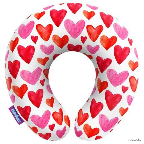 "Подушка под шею ""Сердечки"" (29х29 см; белая) — фото, картинка"