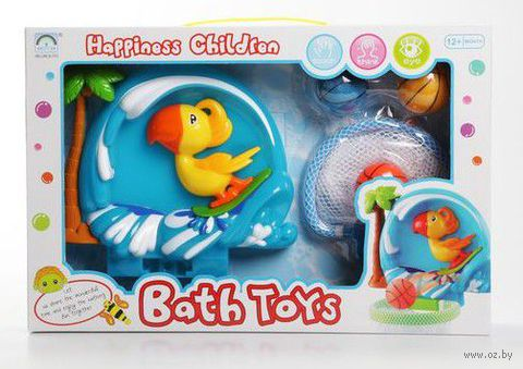 """Набор игрушек для купания на присоске """"Водный баскетбол с попугаем"""""""