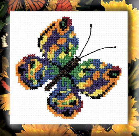 "Вышивка крестом ""Бабочка зеленая"" (110x110 мм) — фото, картинка"