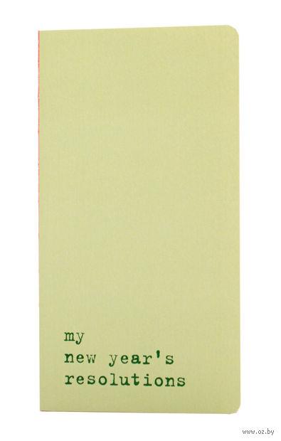 "Записная книжка в точку ""Chapter. My New Years Resolutions"" (95х180 мм; светло-зеленая) — фото, картинка"