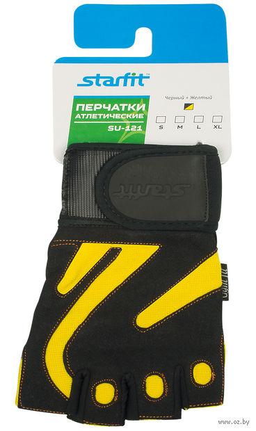 Перчатки атлетические SU-121 (L; чёрно-жёлтые) — фото, картинка