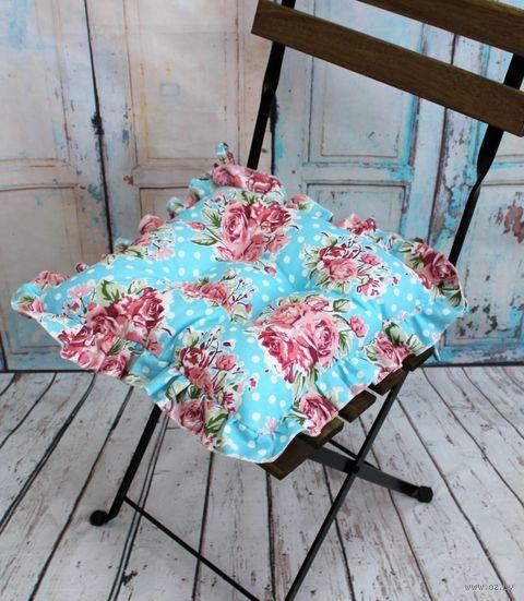 "Подушка на стул ""Ажур"" (35х35 см; бордово-голубая) — фото, картинка"
