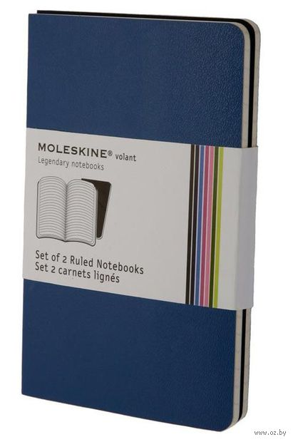 """Записная книжка Молескин """"Volant"""" в линейку (карманная; мягкая синяя обложка; 2 штуки)"""