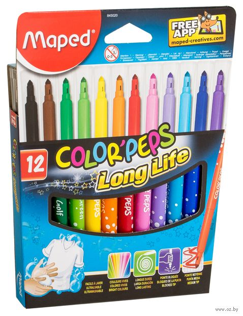 "Фломастеры ""Color Peps"" (12 цветов; арт. 845020LM) — фото, картинка"