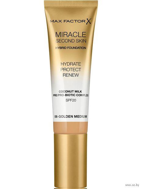 """Тональная основа для лица """"Miracle Second Skin"""" SPF 20 тон: 06, golden medium — фото, картинка"""