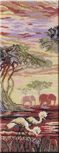 """Вышивка крестом """"Слоны. Часть 1"""" (380x150 мм) — фото, картинка"""
