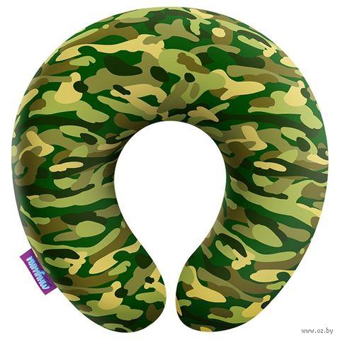 """Подушка под шею """"Камуфляж. Стандарт"""" (34х34 см; зелёная) — фото, картинка"""