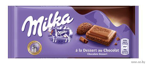 """Шоколад молочный """"Milka. Dessert Au Chocolat"""" (100 г) — фото, картинка"""