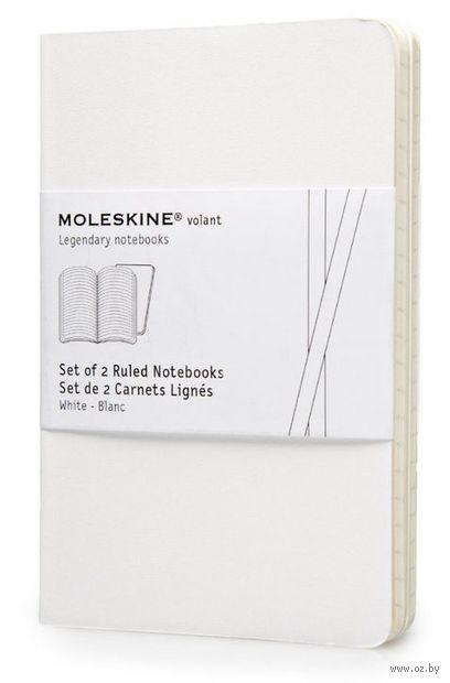 """Записная книжка Молескин """"Volant"""" в линейку (карманная; мягкая белая обложка; 2 штуки)"""