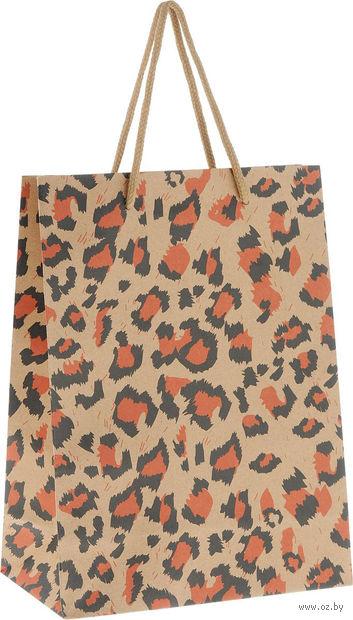 """Пакет бумажный подарочный """"Леопард"""" (19х24,5х8 см; арт. 43740) — фото, картинка"""
