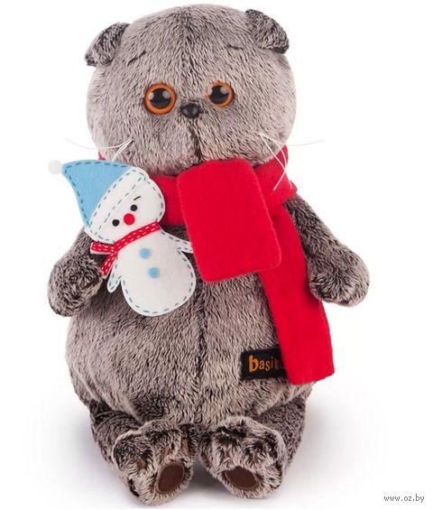 """Мягкая игрушка """"Басик в шарфике со снеговичком"""" (25 см) — фото, картинка"""