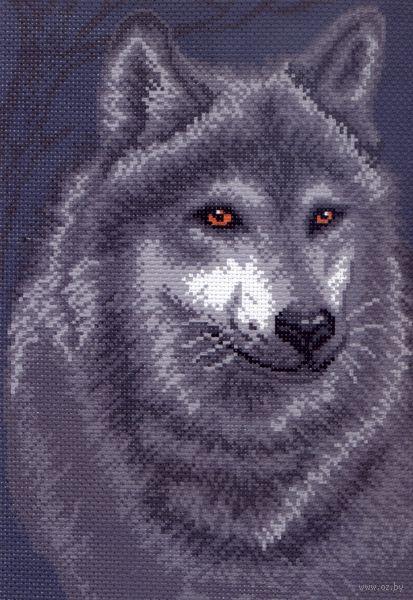 """Канва с нанесенным рисунком """"Волк"""" (арт. 0495)"""