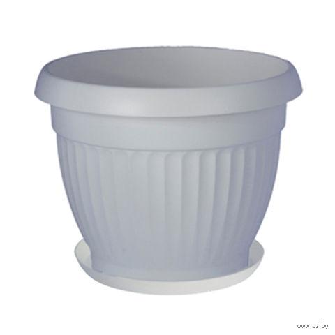 """Цветочный горшок с подставкой """"Дона"""" (17 см; белый) — фото, картинка"""