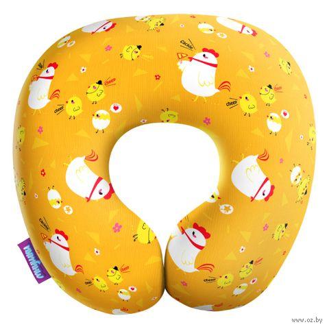 """Подушка под шею """"Цыплята на прогулке"""" (29х29 см; оранжевая) — фото, картинка"""
