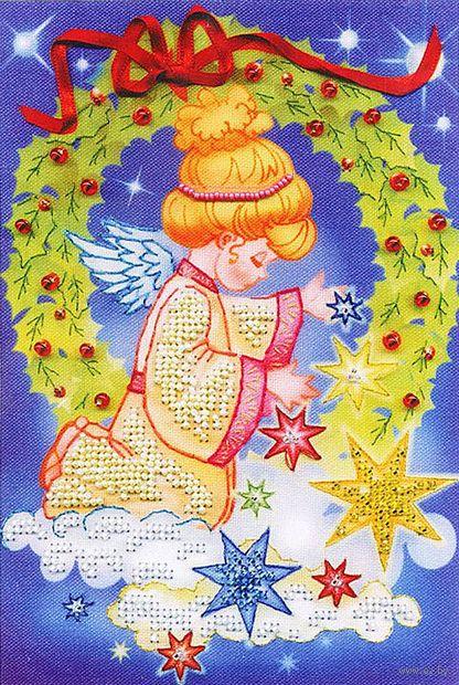 """Вышивка бисером """"Ангел с елкой"""" (140х205 мм) — фото, картинка"""