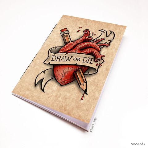 """Блокнот крафт """"Draw or Die"""" (А5; арт. 716) — фото, картинка"""