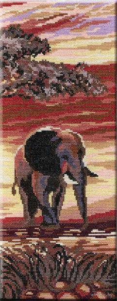 """Вышивка крестом """"Слоны. Часть 3"""" (380x150 мм) — фото, картинка"""