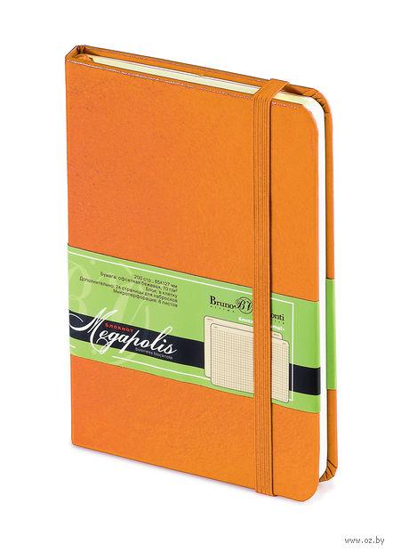 """Блокнот в клетку """"Megapolis Journal"""" (А6; оранжевый) — фото, картинка"""