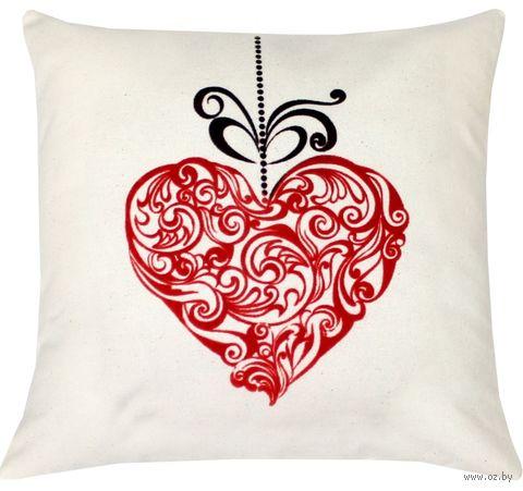 """Подушка """"Сердце из кружев"""" (40x40 см; арт. 09-054) — фото, картинка"""