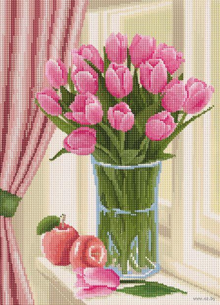 """Алмазная вышивка-мозаика """"Букет тюльпанов"""" (500х360 мм) — фото, картинка"""