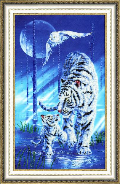 """Вышивка бисером """"Белый тигр"""" (400х240 мм) — фото, картинка"""
