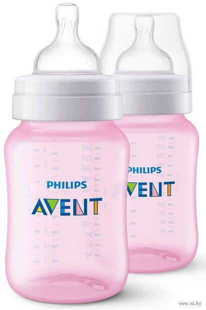 """Набор бутылочек для кормления """"Classic+"""" (260 мл; розовая; 2 шт.) — фото, картинка"""