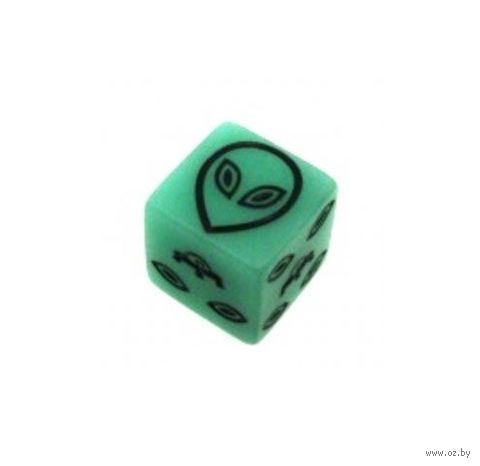 """Кубик D6 """"Инопланетянин"""" (зеленый) — фото, картинка"""