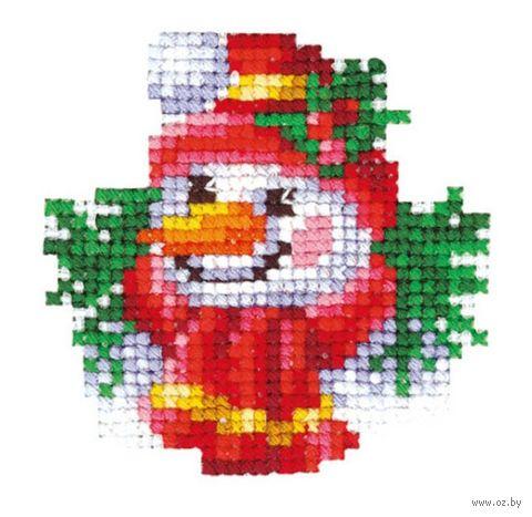 """Вышивка крестом """"Снеговик"""" (60х60 мм) — фото, картинка"""