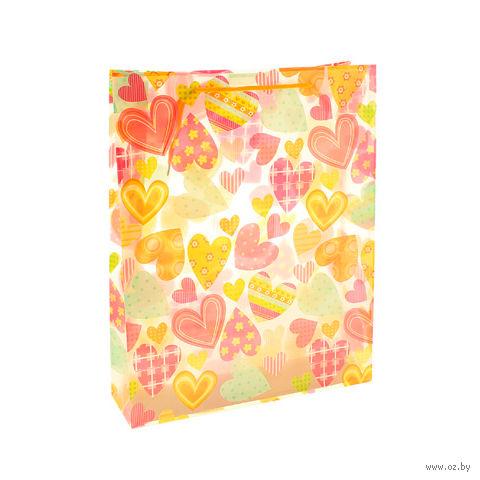 """Пакет пластиковый подарочный """"Сердца"""" (39х31х9 см; арт. 10538357)"""