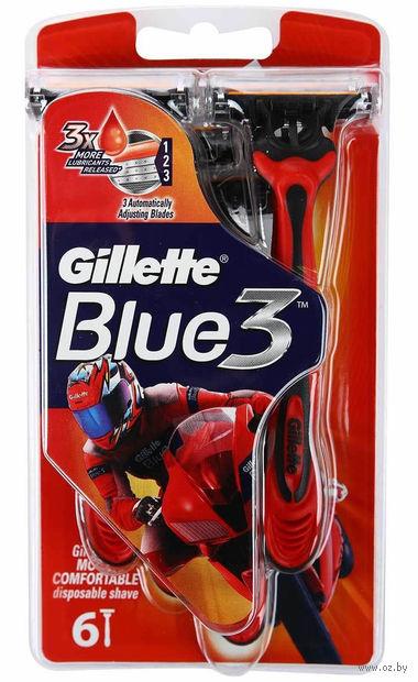 """Станок для бритья одноразовый """"Blue 3 Red"""" (6 шт)"""