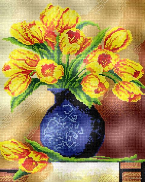 """Алмазная вышивка-мозаика """"Весенние тюльпаны"""" (400х500 мм) — фото, картинка"""