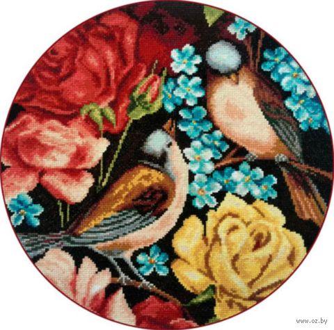 """Вышивка крестом """"Синицы и цветы"""" (280х280 мм; арт. X-1138) — фото, картинка"""