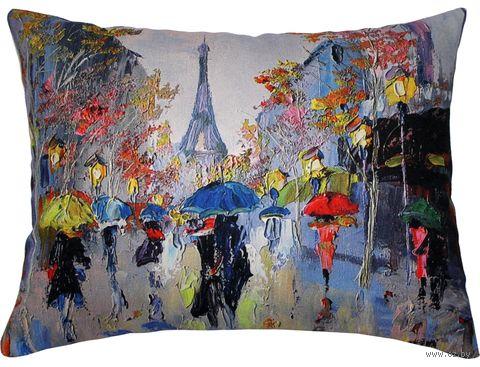 """Подушка """"Париж"""" (45x35 см; синяя; арт. 08-583) — фото, картинка"""